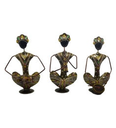 Metallic Iron Black Man Musician - Set Of 3