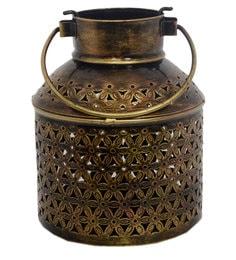Metallic Iron Lota Shape Candle Holder - 1670559