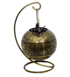 Metallic Iron Round Pot Tea Light Holder With Stand