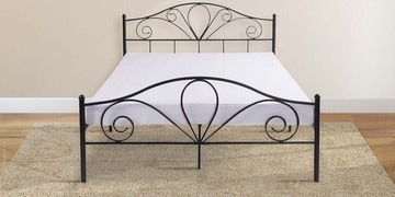 Amane Queen Size Metal Bed In Black Finish By Mintwud