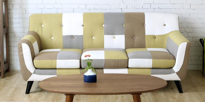 Medellin Three Seater Sofa in Yellow Multi Colour by CasaCraft