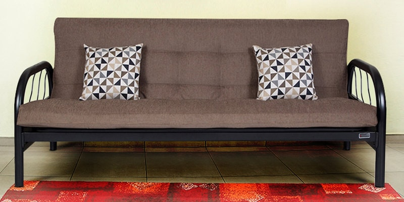Metallic Three Seater Sofa cum Bed with Grey Mattress by FurnitureKraft