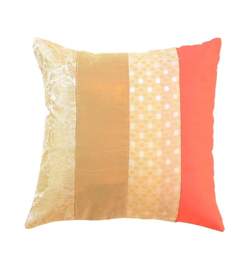 Beige Brocade 16 x 16 Inch Cushion Cover by Me Sleep