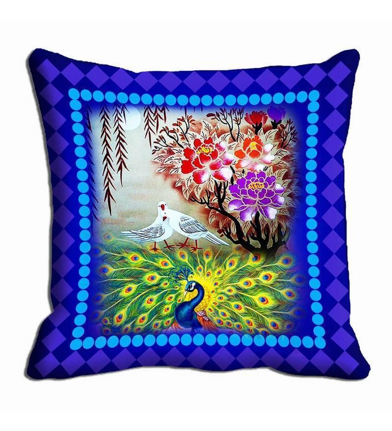 Blue Satin 16 x 16 Inch Cushion Cover by Me Sleep