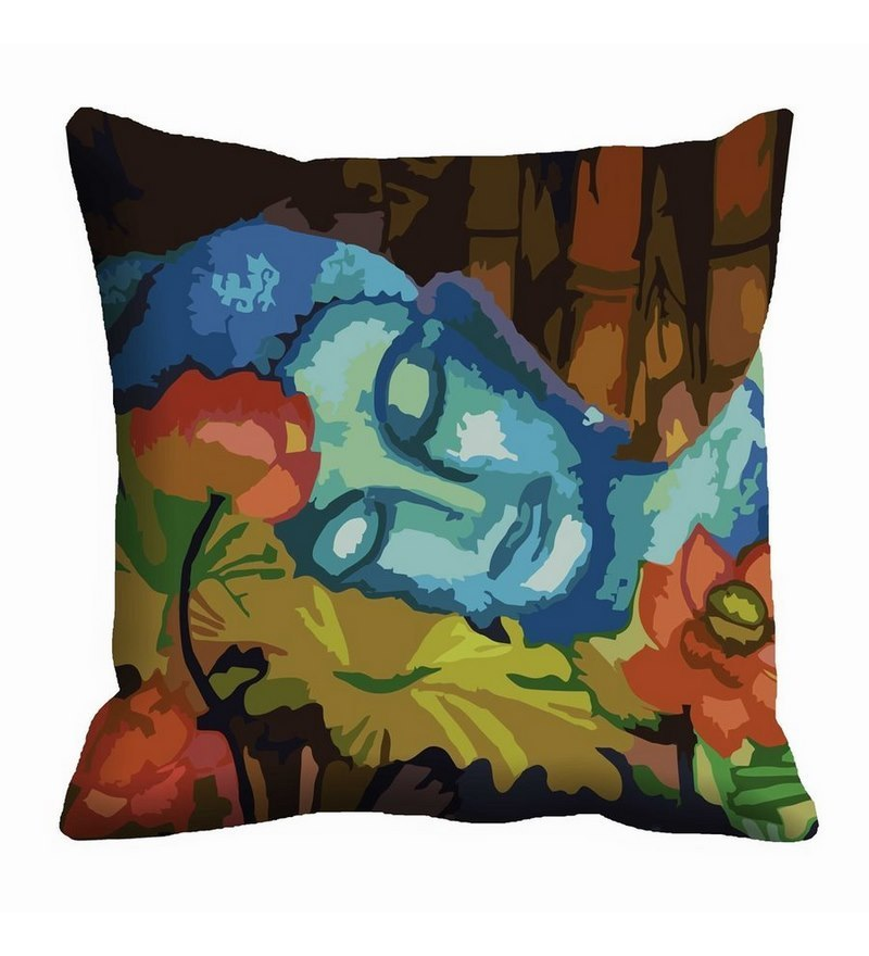 Multicolor Satin 16 x 16 Inch Reclining Buddha Cushion Cover by Me Sleep