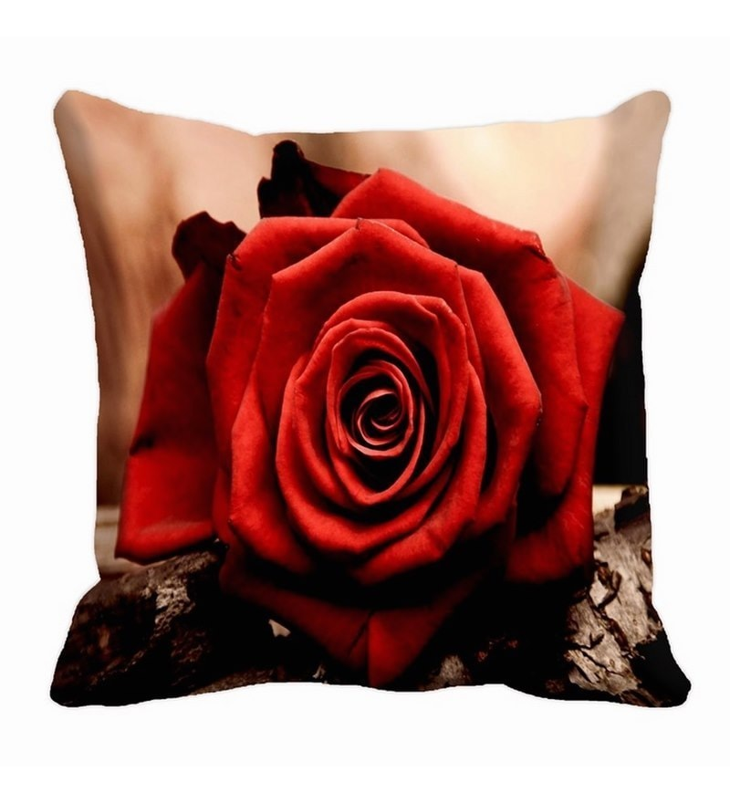 Red Satin 16 x 16 Inch Rose Cushion Cover by Me Sleep
