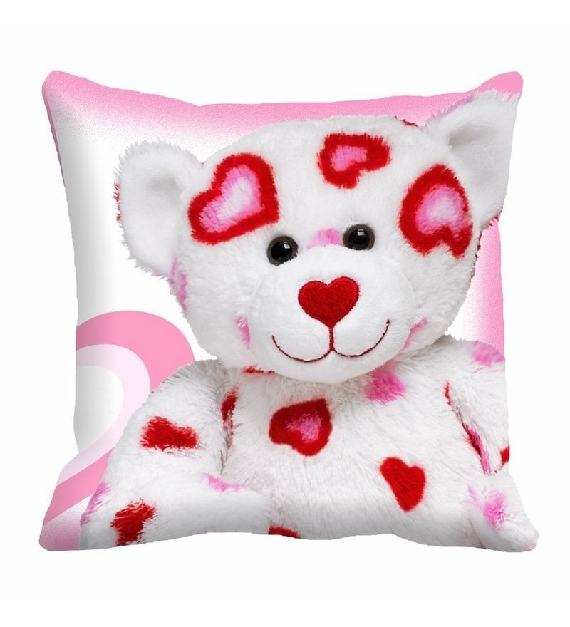 White & Pink Cotton 16 x 16 Inch Teddy Bear Digitally Printed Cushion Cover by Me Sleep