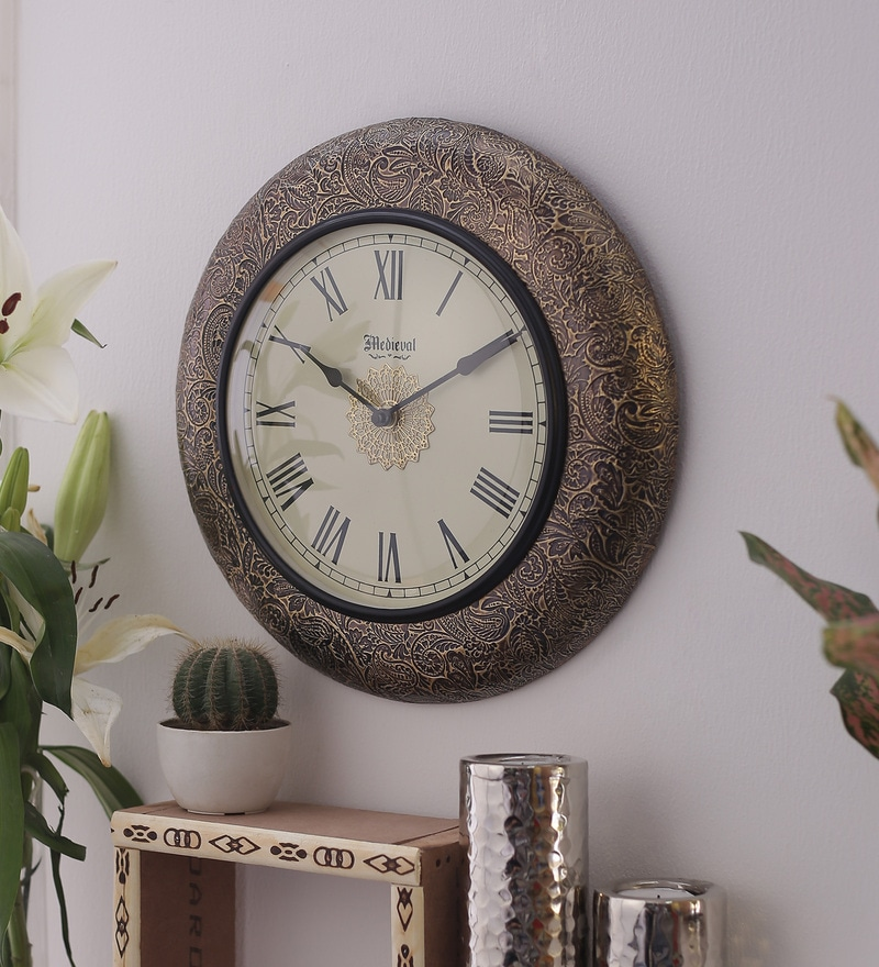 Antique Gold Wood & Brass 11.4 Inch Roman Dial Round Wall Clock by Medieval India