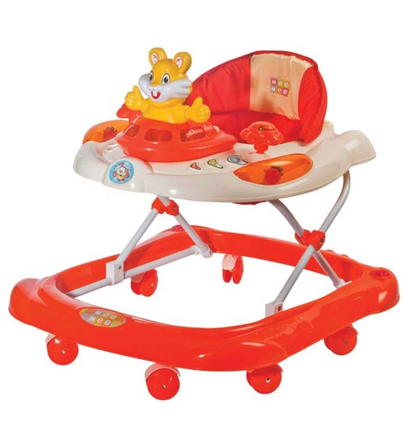 Safety Baby Walker with Adjustable Height in Orange Colour by Mee Mee
