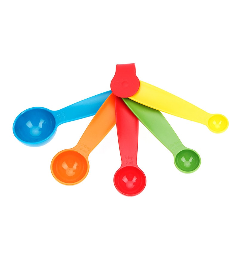 Yangli Multicolour Plastic Measuring Small Spoons - Set of 5