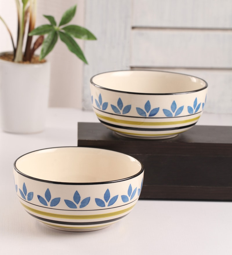 Meraki By Sonal Atai Turquiose And Green Ceramic 800 ML Serving Bowl - Set Of 2