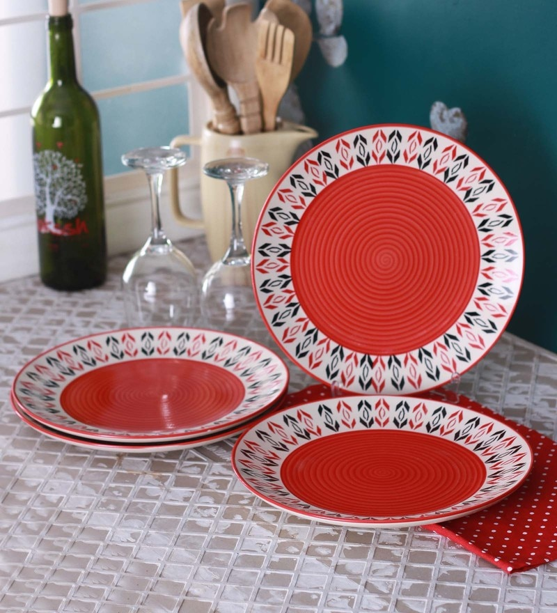 Meraki by Sonal Ikat Red Ceramic Dinner Plates - Set of 4