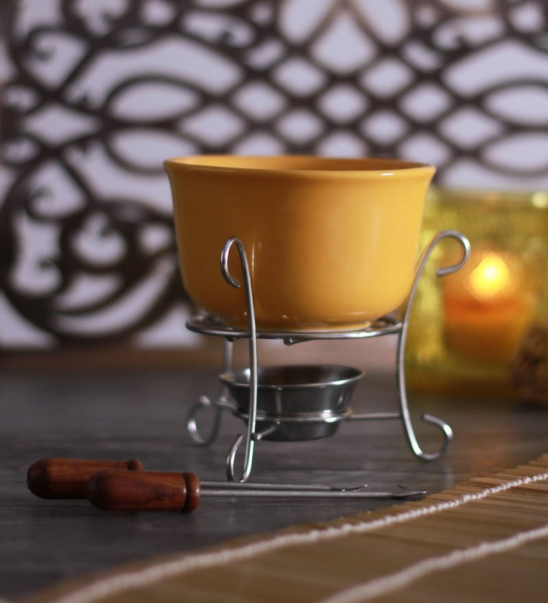 Meraki by Sonal Sunshine Ceramic & Stainless Steel 300 ML Fondue Set - Set of 5