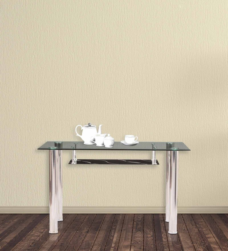 Metal Six Seater Dining Tablewith Glass Top by Parin