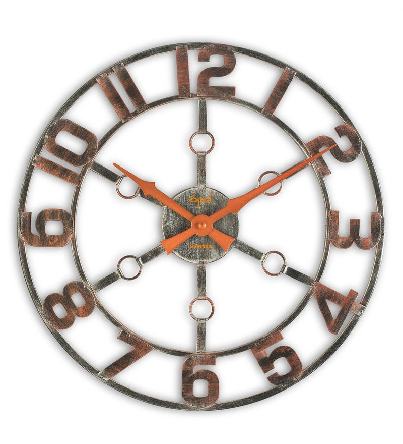 Amazing Metallic Finish Metal 16 Inch Wall Clock By Opal Design Ideas