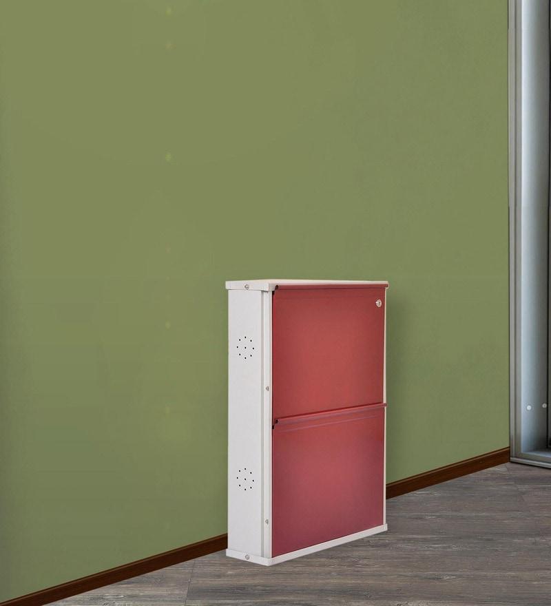 Muscat Metallic Two Door Shoe Rack in Maroon Colour by FurnitureKraft