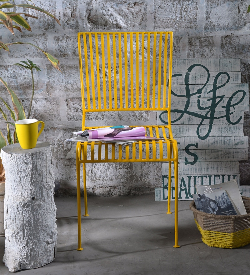 Lisheen Outdoor Iron Chair in Yellow Color by Bohemiana