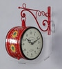 Red Iron 9 x 5.4 x 12.5 Inch Hand Painted Station Wall Clock Victoria by Medieval India