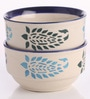 Meraki By Sonal Buti Blue And White Ceramic 200 ML Breakfast Serving Bowl - Set Of 4