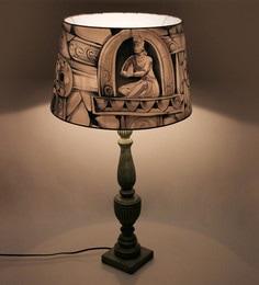 Miah Decor Multicolour Cotton Khajuraho Table With Green Ancient Base Table Lamp
