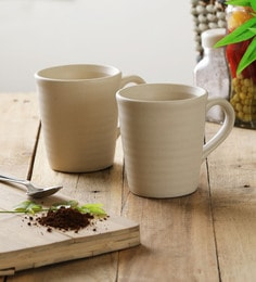 Miah Decor Ribbed Beige Stoneware 300 ML Mugs - Set Of 4