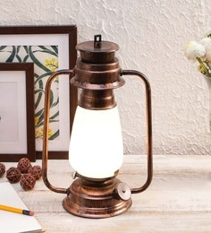 Milky White Glass Lantern Frosted Table Lamp By New Era