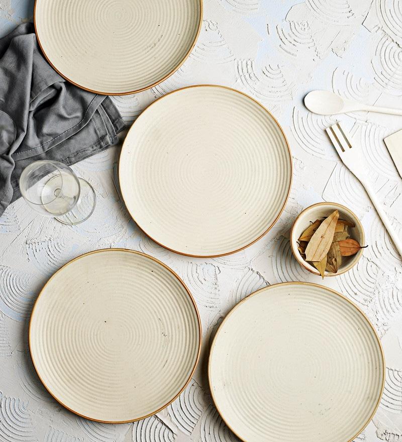 Miah Decor Ribbed Cream Stoneware Dinner Plates - Set of 4