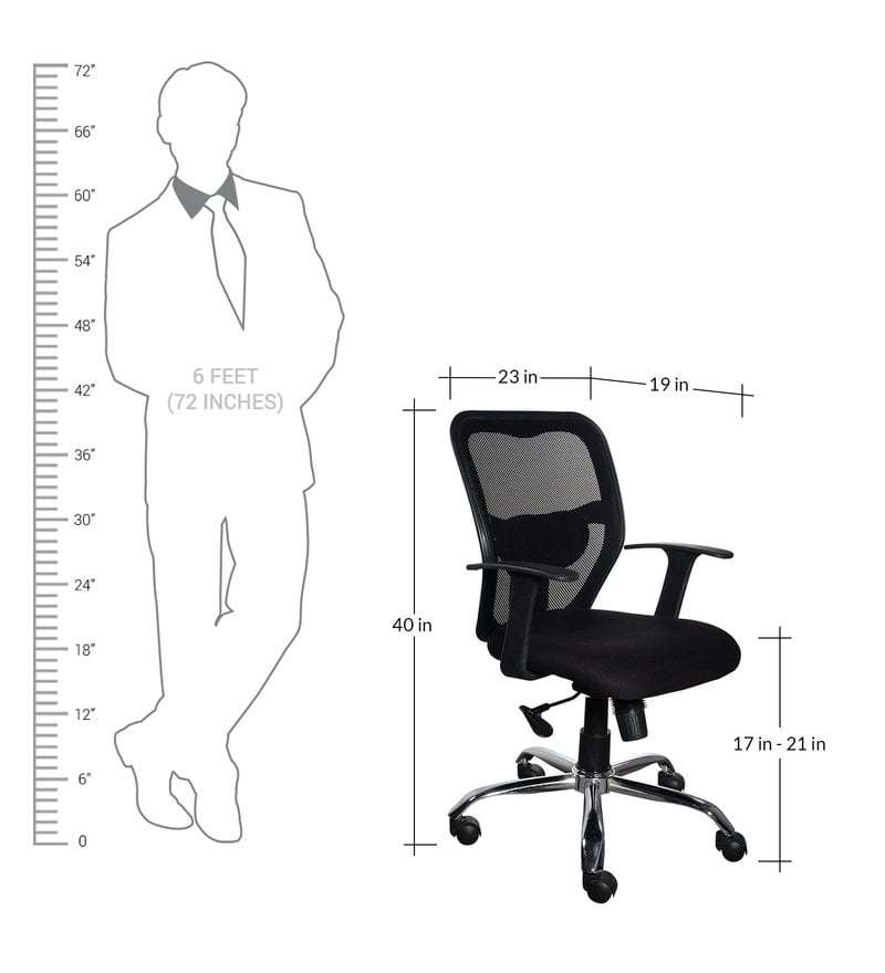 Buy Mid Back Ergonomic Chair In Black Colour By Emperor Online