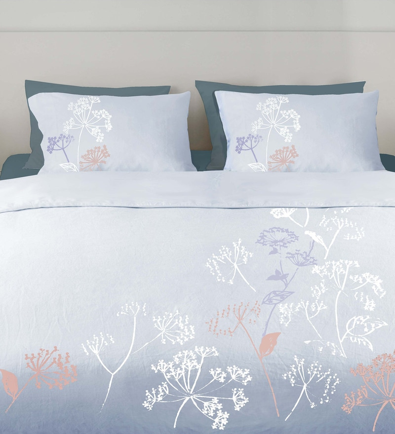 Light Blue 100% Cotton King Embroidered Button Duvet Cover by Milano Home