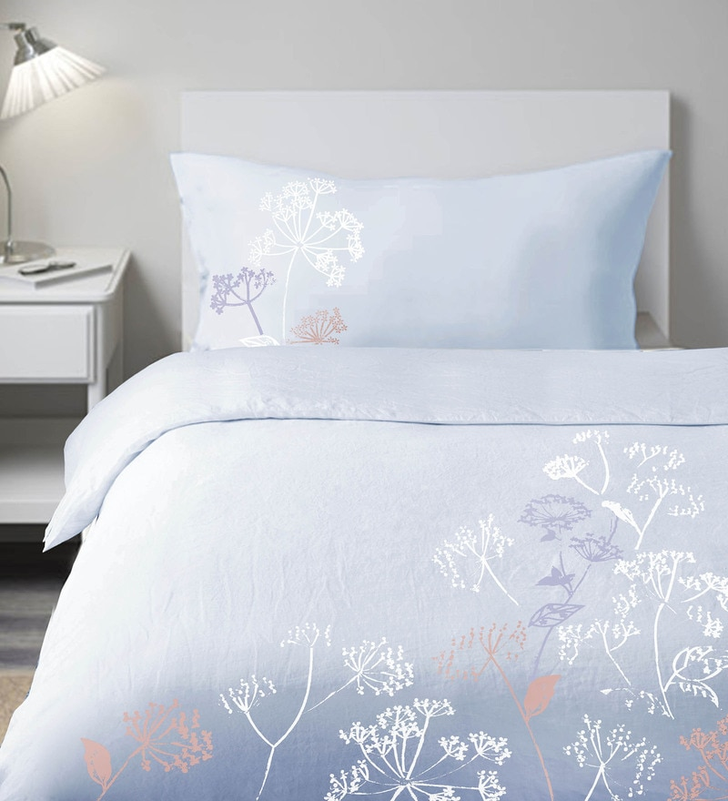Light Blue 100% Cotton Single Embroidered Button Duvet Cover by Milano Home