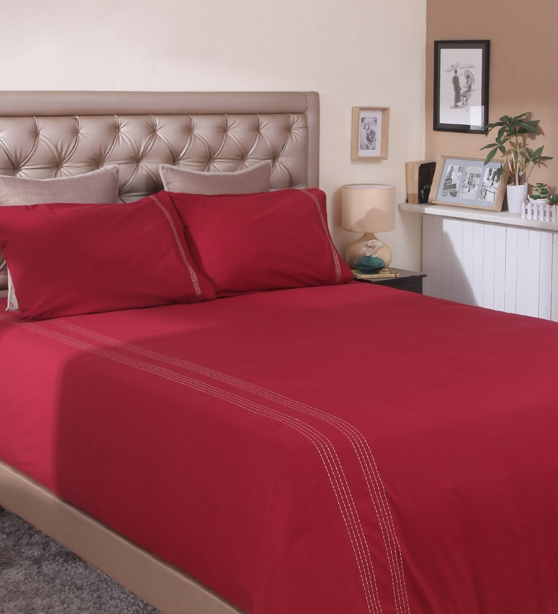 Maroon Cotton Queen Size Bedsheet - Set of 3 by Milano Home