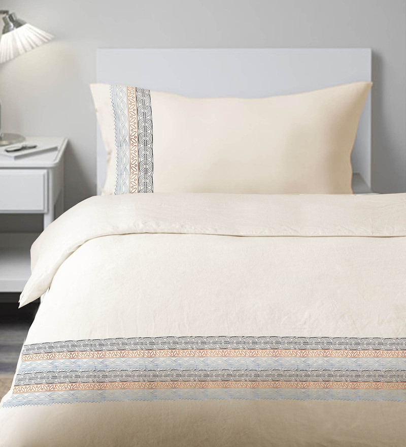 Off White 100% Cotton Single Embroidered Button Duvet Cover by Milano Home