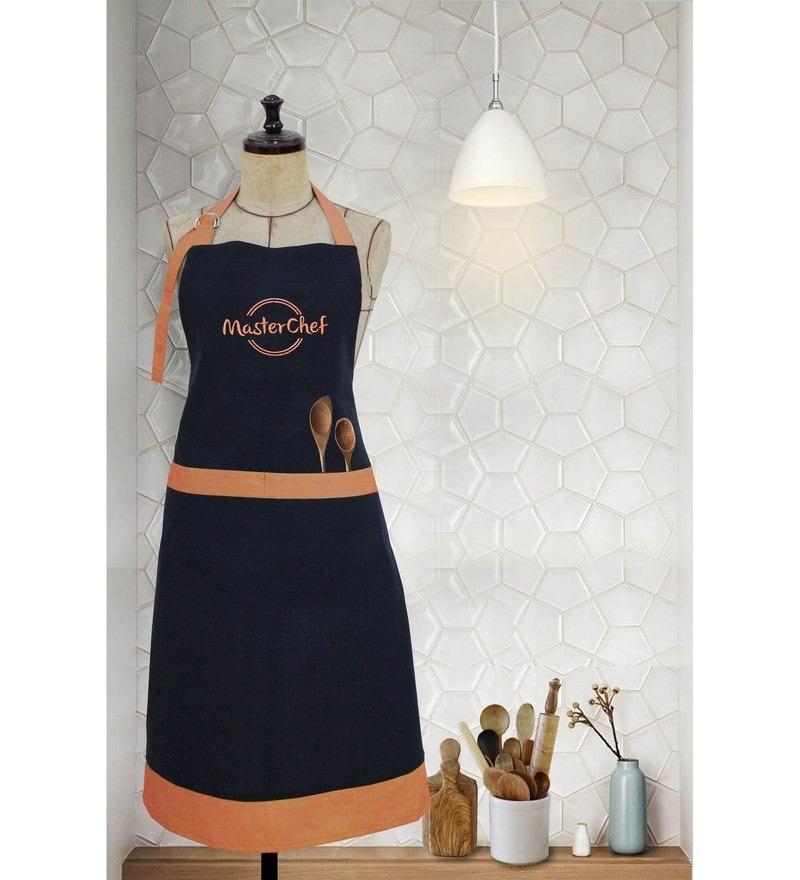 Milano Home Orange 100% Cotton Masterchef Apron with Adjustable Neck & Pocket