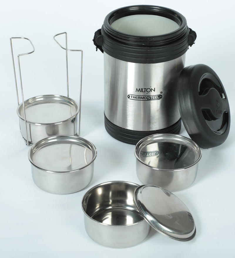 a4997835fbd7 Stainless Steel & Plastic 350 ML Tiffin box - Set Of 3 by Milton