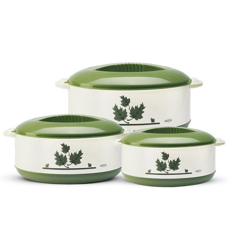 Milton Orchid Junior Green Casseroles - Set of 3