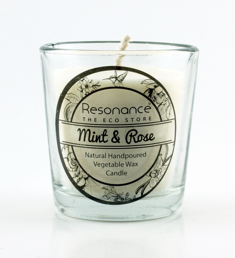 Mint & Rose Fragrance Natural Wax Aroma Votive Scented Candle by Resonance