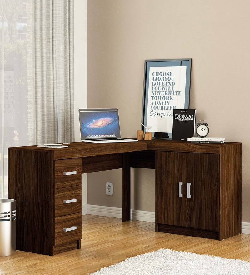 Misaki Study Table with Drawers & Cabinet in Walnut Brown Finish by Mintwud