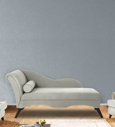 Modern Scroll Arm Chaise In Grey Colour