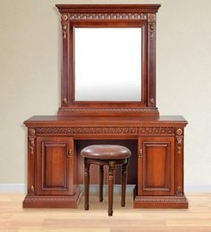 Morrison Red Cherry Dressing Table With Mirror And Stool ...