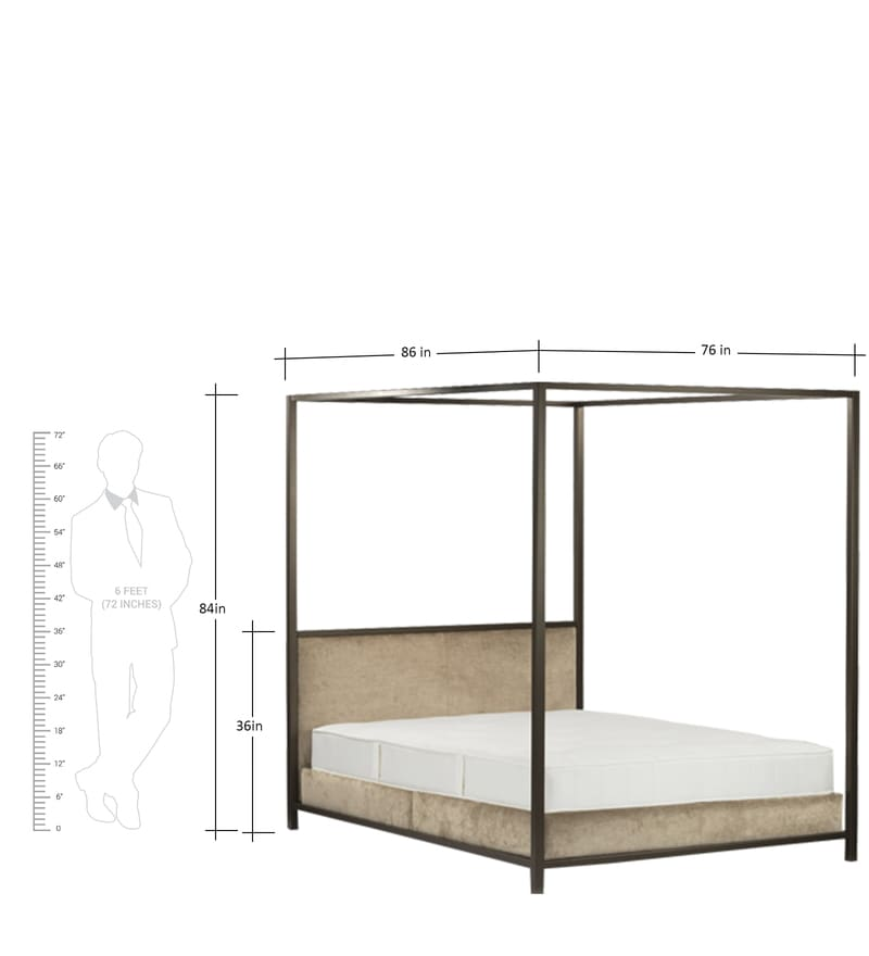 Buy Modern Four Poster Bed With Metal Frame In Brown