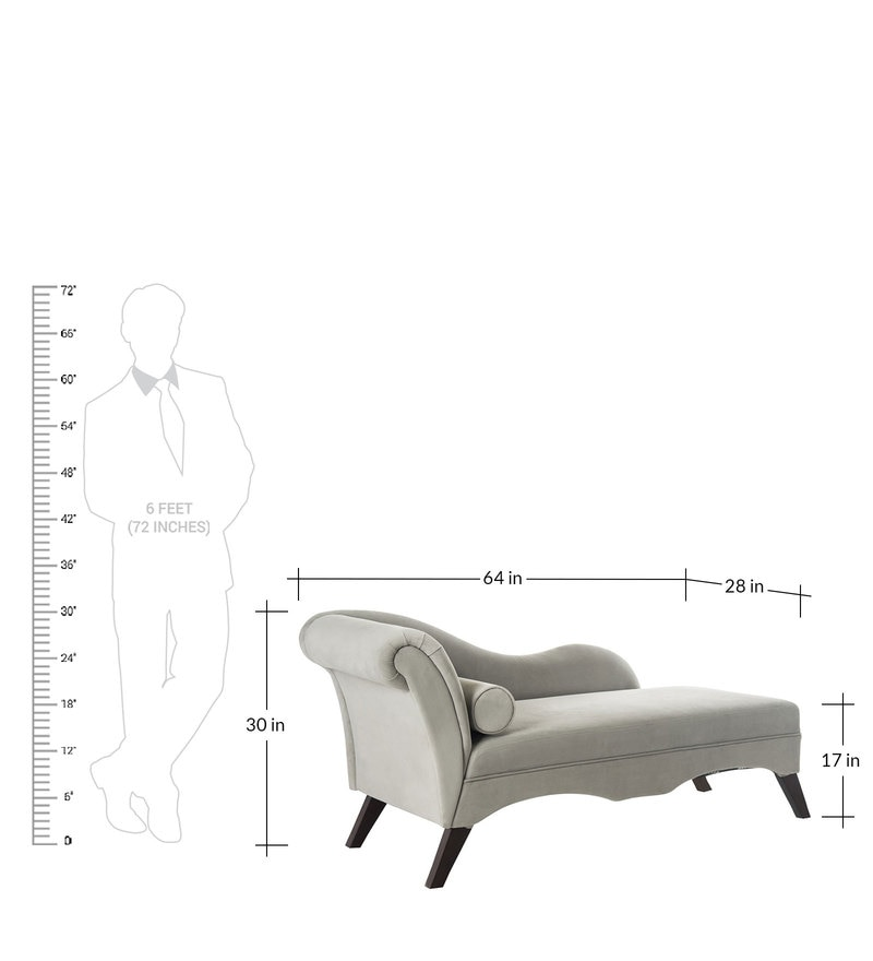 Buy Modern Scroll Arm Chaise in Grey Colour by Dreamzz Furniture