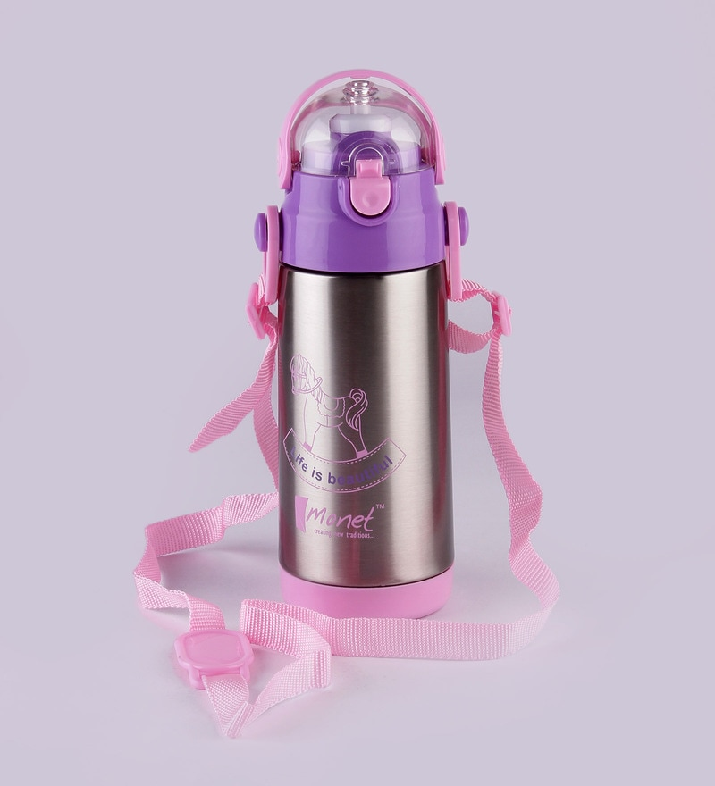 Monet Modish Pink and Purple Stainless Steel 350 ML Sipper Bottle