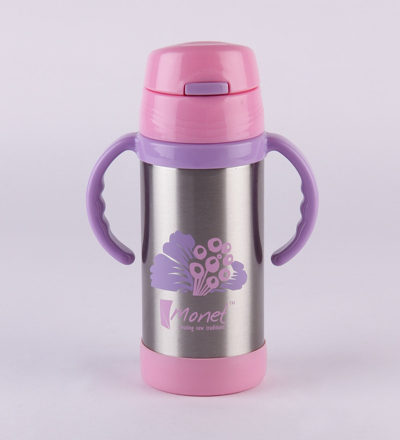Monet Vogue Pink and Purple Stainless Steel 350 ML Sipper Bottle