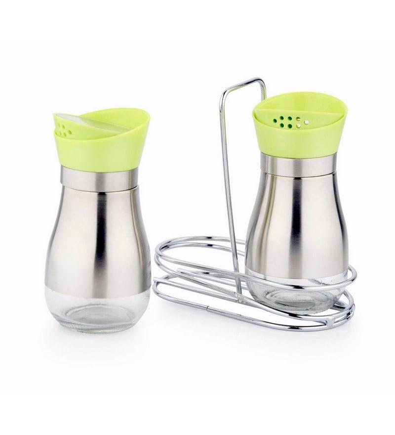 Mosaic Transparent Glass Salt & Pepper Shaker with Stand - 2 Pcs