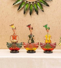 Multicolor Iron Musician Sitting With Turban Set Of 3 Figurine