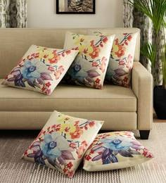 Multicolor Polyester Jute Fabric Star Flower Print Set Of 5 Cushion Covers