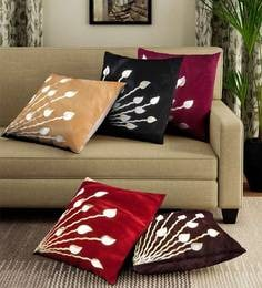 Multicolor Velvet Laser Cut Cushion Covers Colour Set Of 5 Cushion Covers - 1707416