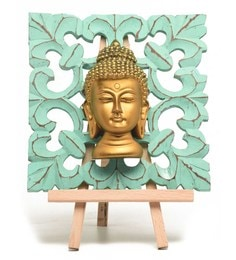 Multicolour Brass & Fibre Buddha Show Piece With Stand