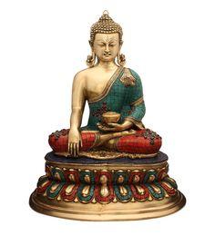 Multicolour Brass Antique Buddha Brass Bronze Statue Tibet Buddhism