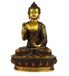 Multicolour Brass Antique Indian Hand Carved Buddha Bronze Statue Brass Tibet Shakyamuni
